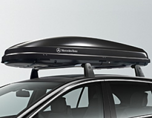 Mercedes benz roof box 450 black metallic opens on both for Mercedes benz roof box