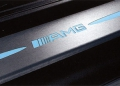 AMG door sill panels, Blue-backlit, brushed stainless steel, x 2