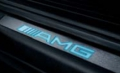 AMG door sill panels, blue illumination (brushed stainless steel, set of 4, long wheelbase)