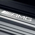 AMG door sill panels. White-backlit, brushed stainless steel, x4 (rear door still panels non-illuminated)
