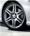 AMG light-alloy wheels. Styling IV, 6-twin-spoke, painted silver, high-sheen surface,